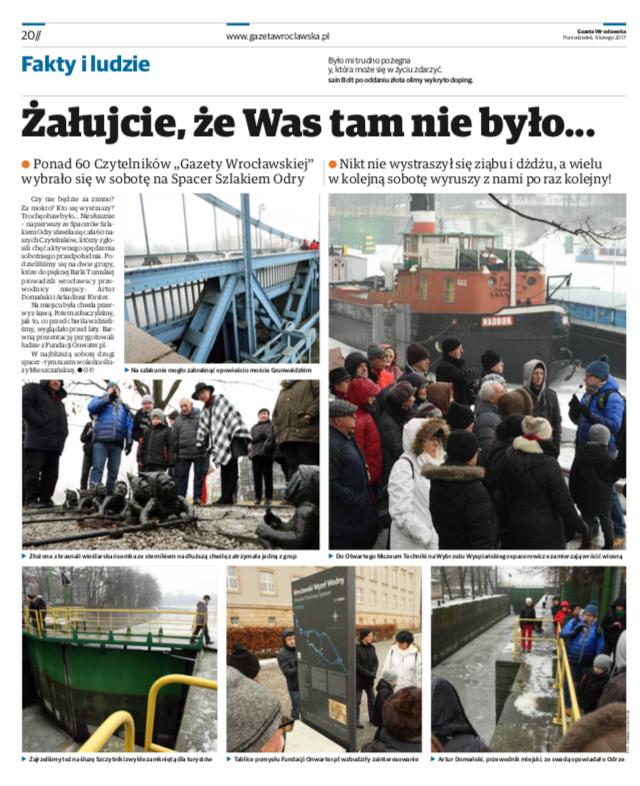 Gazeta Wrocławska z 6 lutego 2017r. Fotorelacja ze spaceru.