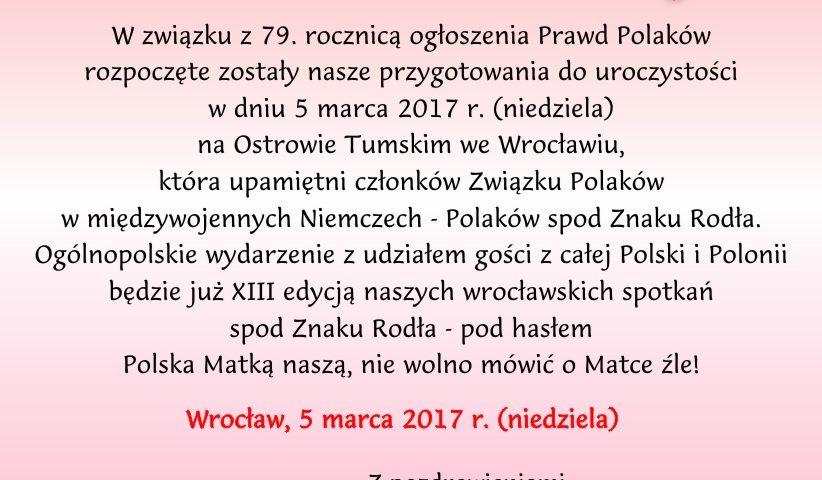 Rodzina Rodła-Wrocław, 5 marca 2017