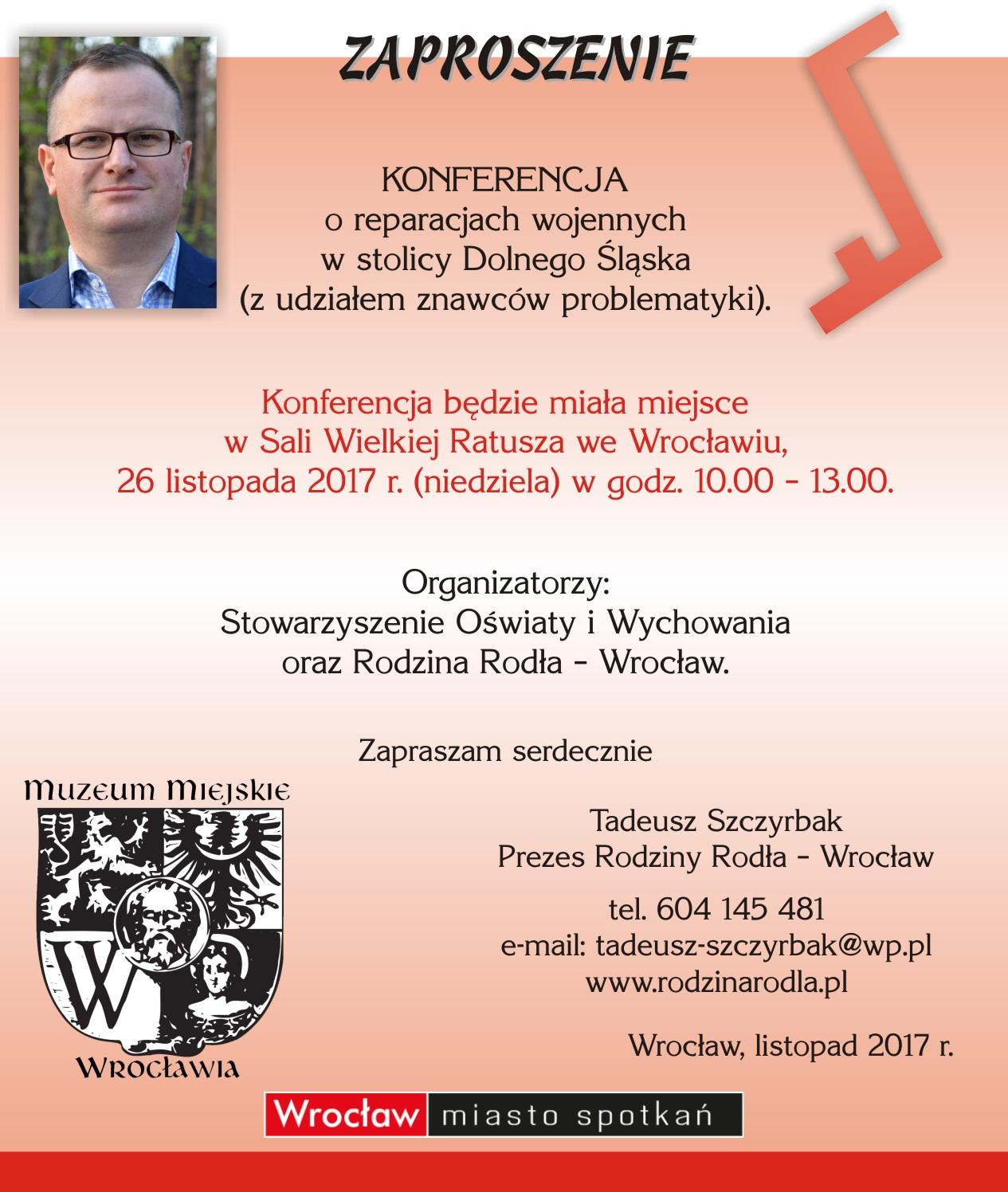 Zaproszenie na Konferencję o reparacjach wojennych.